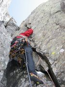 Rock Climbing Photo: Chris Sheridan trying not to get stabbed by his ow...
