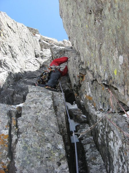 Chris Sheridan climbing the upper corners of Adaptive Methods on 5/9/10.  Photo by Andy Grauch.
