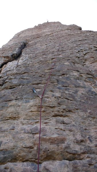 Rock Climbing Photo: Arjun at the anchors, the runout to first bolt sho...