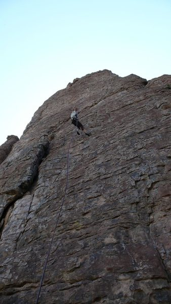 Rock Climbing Photo: Hanna rapping the route -- a fun double rope rap i...