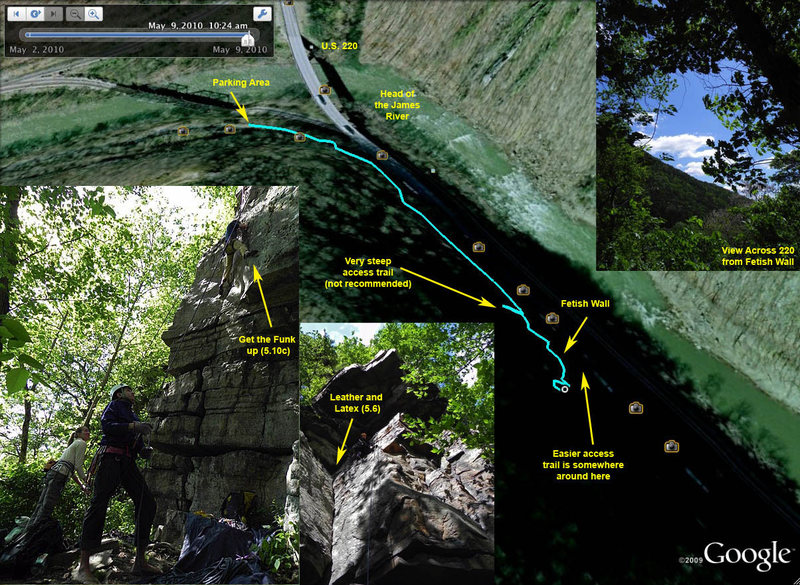 Iron Gate climbing area mapped on Google Earth.