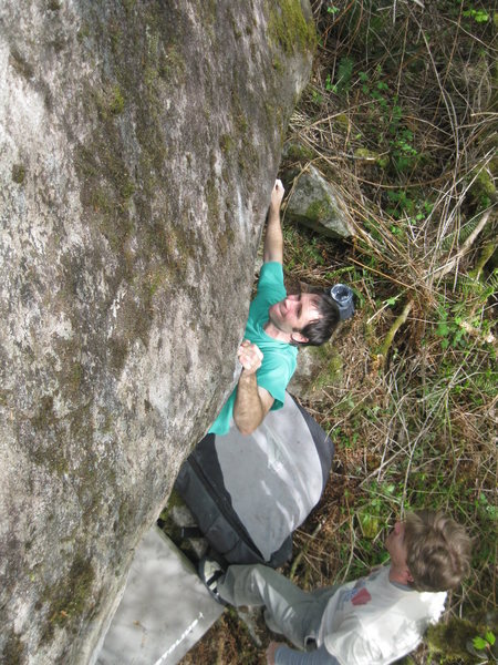 Rock Climbing Photo: Jonah figuring out the techy movements onto the sl...