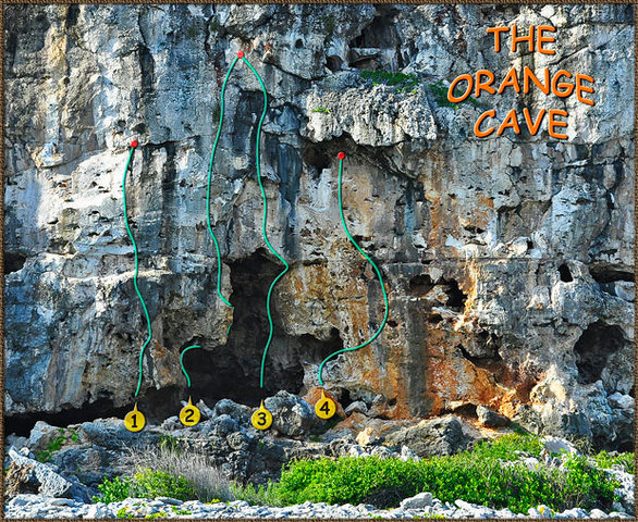 Rock Climbing Photo: Another beta photo-topo for the Orange Cave.  Blue...