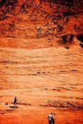 Melissa Aldape 1/2 way up Pygmy Alien. Photo enhanced slightly to show how rock texture changes as you climb this classic.