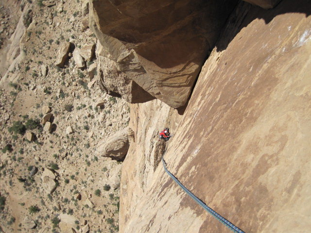 Looking down the third pitch on the descent.