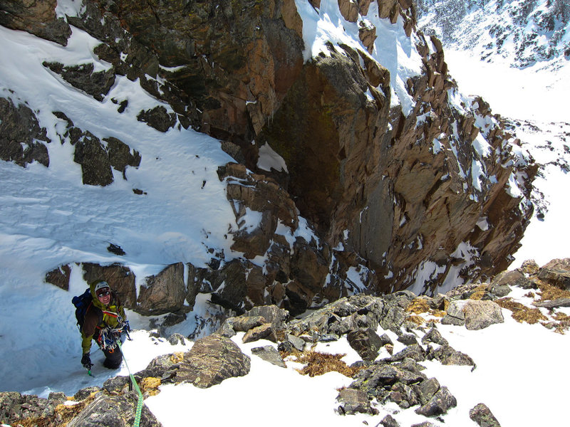 Bill Duncan emerges from the gully.