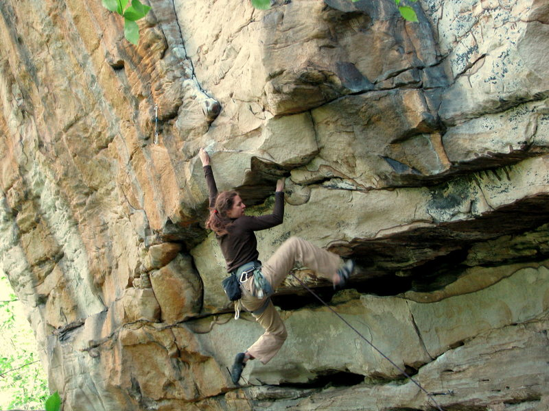 Dana Steck, trying to hold it together as she heads into the crux on Psycho Wrangler, 5.12a.