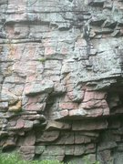 Rock Climbing Photo: start under the blocky stuff and shape right to th...