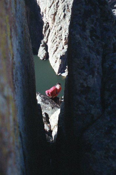 Rock Climbing Photo: Through there?