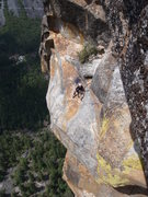 Rock Climbing Photo: Seth chillin on the last big ledge at the top of t...