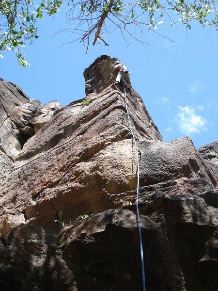 Rock Climbing Photo: Jewls near top of Sunrise Buttress