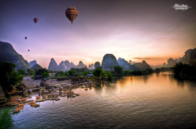 A fantastic HDR composite of a typical YangShuo view by Blazej Mrozinski - http://www.flickr.com/photos/blazejmrozinski -  Photo used under Creative Commons.