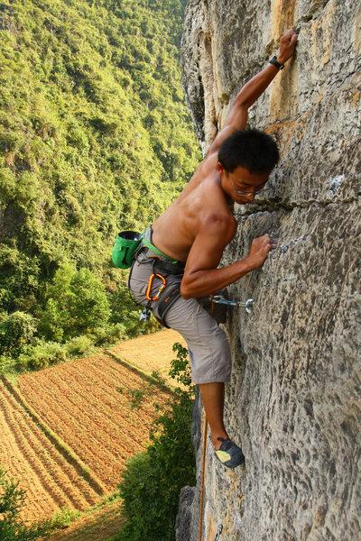 Rock Climbing Photo: QQ moving through the P1 crux on Eggstatic.