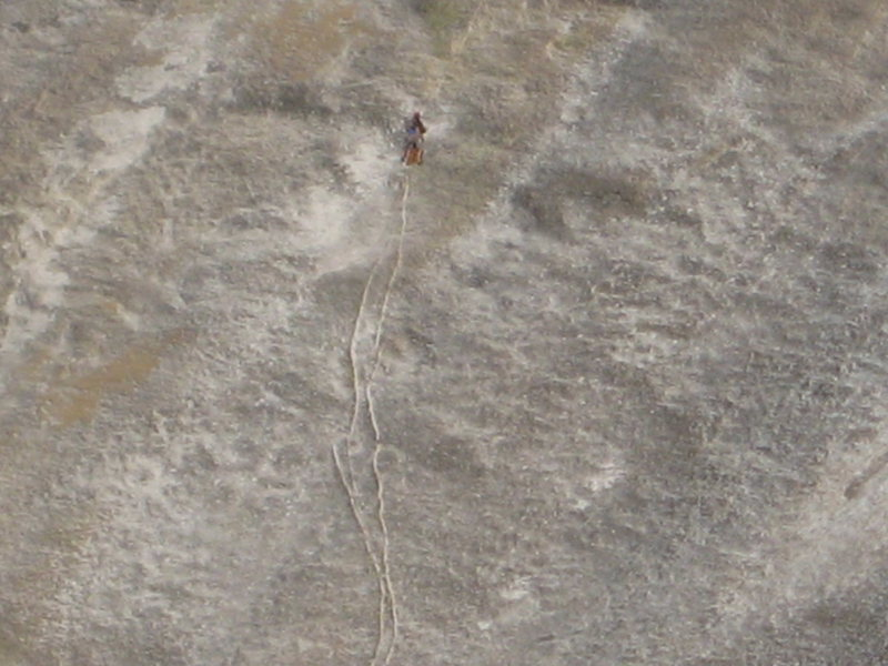 Rock Climbing Photo: A late day climber on the dike route.