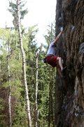 Rock Climbing Photo: The crux reach on Malpia Scianka