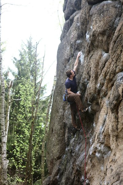 Dan muscling through the crux of Malpia Scianka