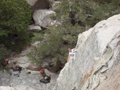 Rock Climbing Photo: Brad belaying Tony on the first pitch of alpinista...