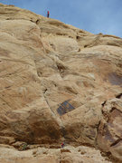 Rock Climbing Photo: Tele photo of the top 5.10 pitch on the first asce...