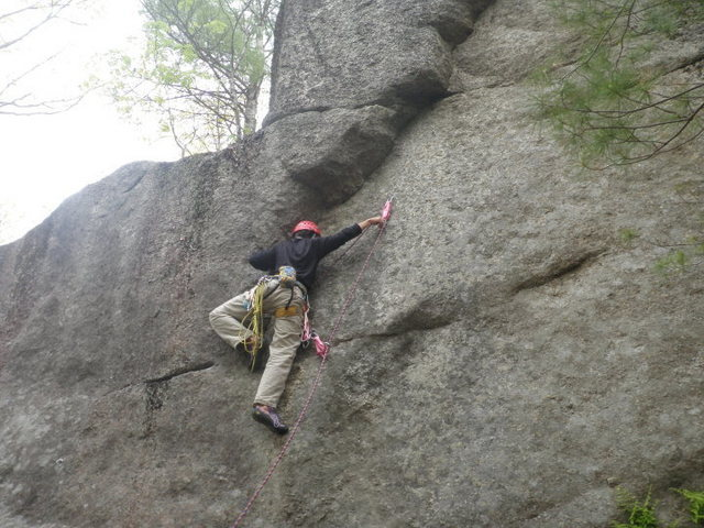 Rock Climbing Photo: Clipping Bolt Number 2 and beginning to work up an...