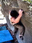 Rock Climbing Photo: Steve Lovelace cranking hard to get the FA of &quo...