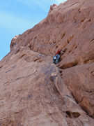 Rock Climbing Photo: Mike Kinney at the 2nd bolt of Pitch 1.