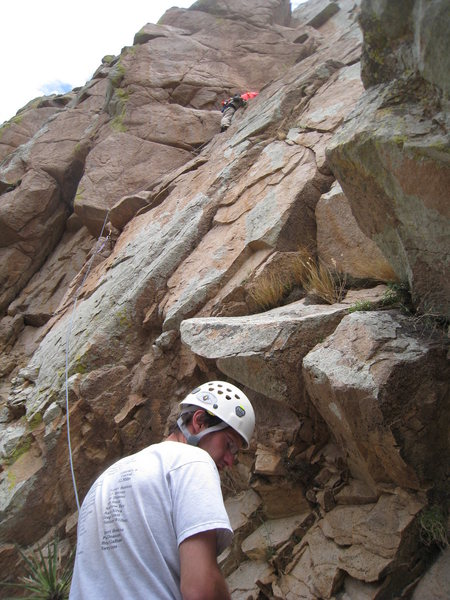 Rock Climbing Photo: Myself leading up our P3 (P4 on the old topo) with...