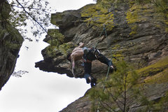 Rock Climbing Photo: Working up into the boulder problem separating the...