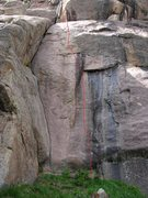 Rock Climbing Photo: Red Tag follows the line up and to the left of the...