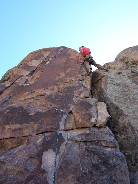 Rock Climbing Photo: Robby clipping anchors of unknown 5.9 right of Phl...