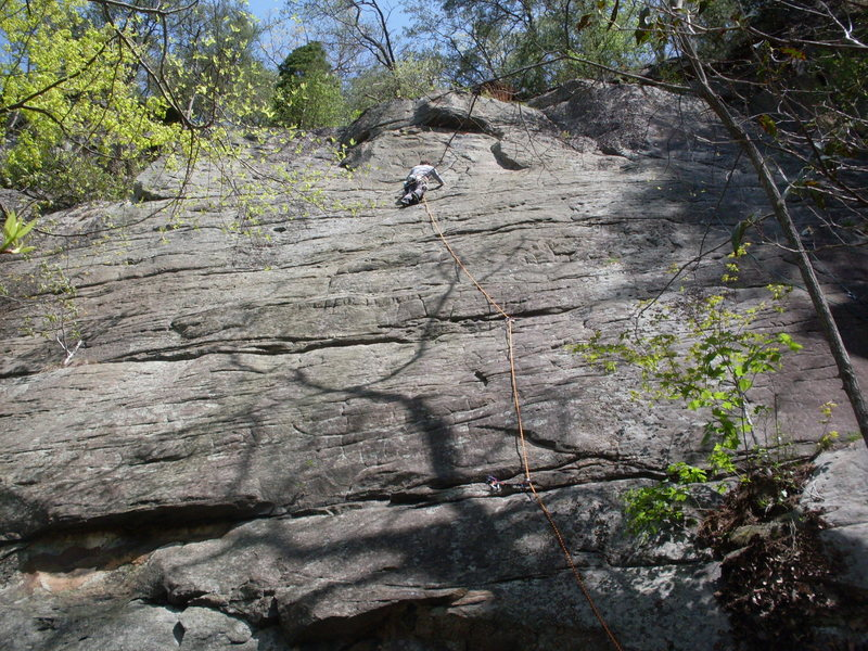 Working up the easier ground past the crux. I've heard there is a red tri-cam placement somewhere above my last piece.
