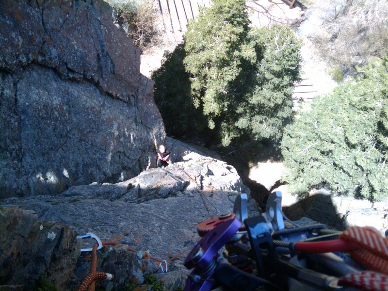 Rock Climbing Photo: Looking down at Zach from the Left Arete of Padded...