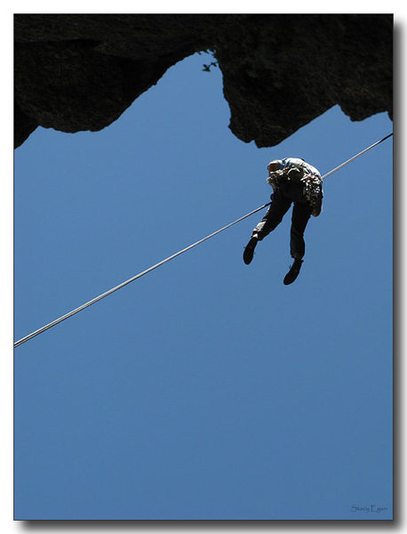 Rock Climbing Photo: There is an airy 2-rope rap to get to the base of ...