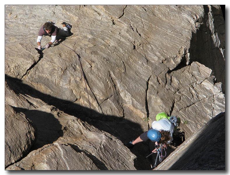 Rock Climbing Photo: Erica belays Scotty up slabby first pitch.