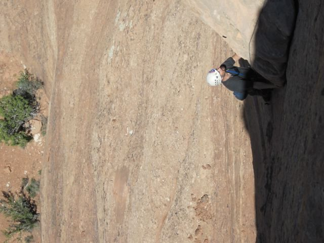 Rock Climbing Photo: Brad pulling the dangerous  choss-corner on P2