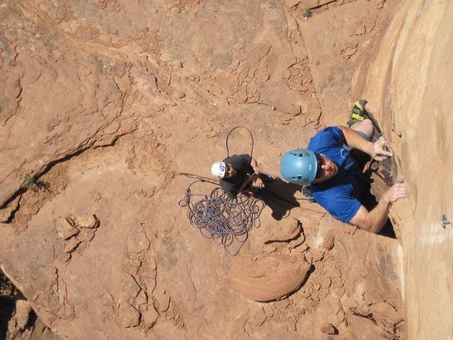 Rock Climbing Photo: Brad belaying Matt on P3