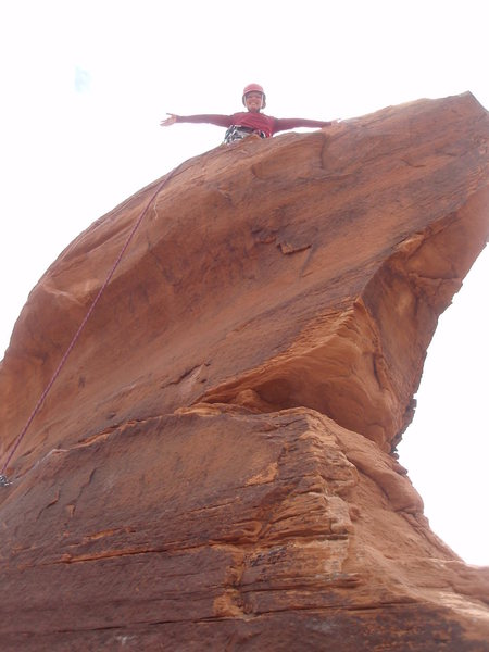 Rock Climbing Photo: Annie on top. The pro you do have on this pitch is...