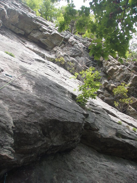 Rock Climbing Photo: P1 of Arch - after clearing the flake, trend right...
