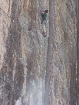 Rock Climbing Photo: Joe in Munchkin Land leading route