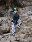 Rock Climbing Photo: Noah monkeying around; soloing one foot from the g...