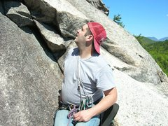 Rock Climbing Photo: Me looking up from lunch ledge.Photo by Loran Smit...