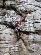 Rock Climbing Photo: Huong works out a tricky sequence on Mercy Miss Pe...