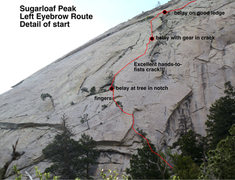 Rock Climbing Photo: The start of the Left Eyebrow (or, at least, the v...