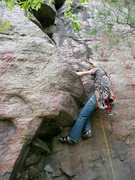 Rock Climbing Photo: Rhoads at the beginning, just before the doggy fun...