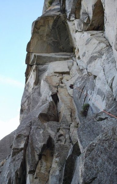 Rock Climbing Photo: Looking up the broken corner of Porter's Pout, lef...