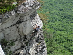 Rock Climbing Photo: Unknown climber now in the meat of the crux horizo...