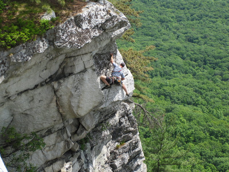 Rock Climbing Photo: Unknown climber getting over the crux horizontal c...