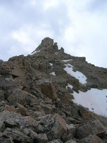 Rock Climbing Photo: summit block of Beulah from the N. Ridge