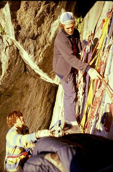 "Mike Lechlinski and John ""Yabo"" Yablonski packing up the junk at the Black Cave bivy."