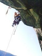 """Rock Climbing Photo: John """"Yabo"""" Yablonski leading the pitch ..."""