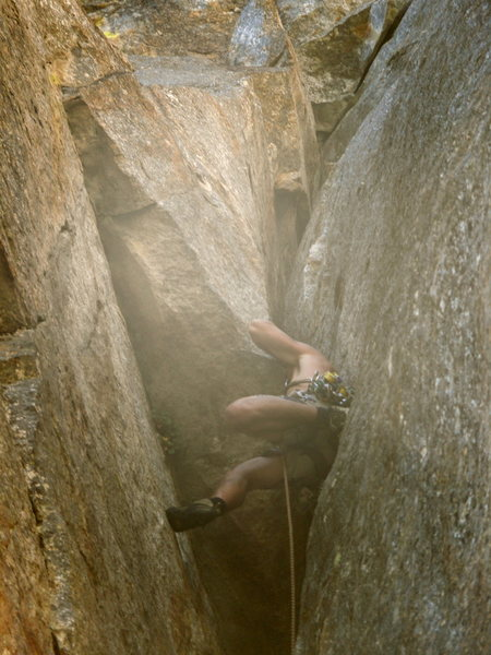 Rock Climbing Photo: In the Original Route's chimney. People on the now...